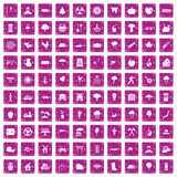 100 tree icons set grunge pink. 100 tree icons set in grunge style pink color isolated on white background vector illustration royalty free illustration