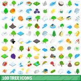 100 tree icons set, isometric 3d style Royalty Free Stock Photos