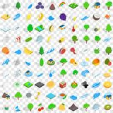 100 tree icons set, isometric 3d style. 100 tree icons set in isometric 3d style for any design vector illustration Stock Photos