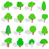 Tree icons set, isometric 3d style. Tree icons in isometric 3d style. Park set isolated vector illustration Royalty Free Stock Photos