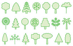 Tree icons. A set of line art style of trees and grass plants Royalty Free Stock Image