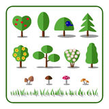 Tree icons set with mushrooms and grass. Nature collection. Flat elements,  on white background. Include pine, oak, blossom bush. Deciduous trees, shrubs Royalty Free Stock Photography