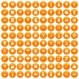 100 tree icons set orange. 100 tree icons set in orange circle isolated on white vector illustration Vector Illustration