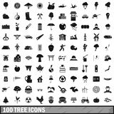 100 tree icons set, simple style Royalty Free Stock Photography