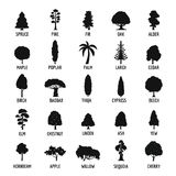Tree icons set, simple style stock illustration