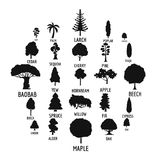 Tree icons set, simple style. Tree icons set. Simple illustration of 25 tree vector icons for web Stock Image