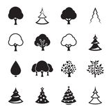 Tree icons set. Vector symbols. Black on a white background Royalty Free Stock Images