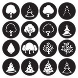 Tree icons set. Vector symbols.. White on a black background Stock Images