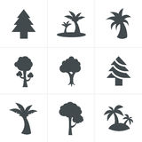 Tree Icons Set. Vector Design Royalty Free Stock Images