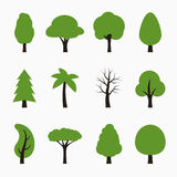 Tree icons set. Royalty Free Stock Images