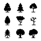 Tree icons set. On white background Stock Image