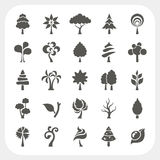 Tree icons set on white background Royalty Free Stock Photos