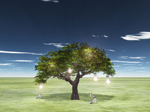 Tree of ideas. With lit bulbs on tree and fallen unlit bulbs Stock Image