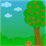 Tree illustration. Illustration with tree, apples, grass and sky Royalty Free Stock Photo