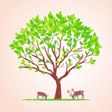Tree illustration. Illustration of a green tree in retro style Royalty Free Stock Images