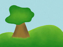 Tree Illustration. Digital art illustration of a tree alone on a rollign hill Royalty Free Stock Photography