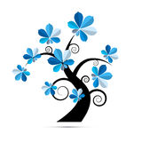 Tree Illustration with Blue Chestnut Leaves. Abstract Vector Tree Illustration with Blue Chestnut Leaves Royalty Free Stock Photography
