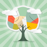 Tree Illustration with Clouds. Retro Paper Tree Illustration with Clouds Stock Photo