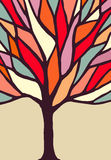 Tree illustration with colorful branches Stock Image