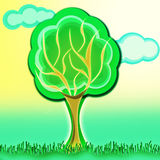 Tree illustration. With grass and blur clouds on background Royalty Free Stock Images