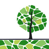 Tree illustration with green leafs. Stock Photography