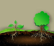 Tree illustration with green leaves and roots Stock Photography