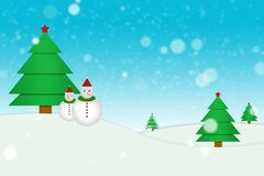 Tree illustrations and snowman Royalty Free Stock Images