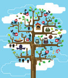 Tree with inhabitants. Colourful illustration of stylized tree with inhabitants Stock Photography
