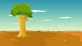 Tree Inside Wide Plain Landscape Stock Photography