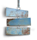 Tree iron plate hang on chains. Stock Photo
