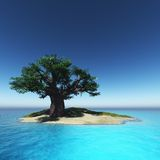 Tree on island and the ocean Stock Images
