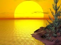 Tree Island Sunset. Giant yellow sun at sunset on the sea Stock Photo