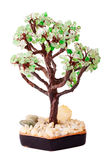 Tree from jewelry stones. Handmade tree from jewelry stones made from glass on white Stock Image