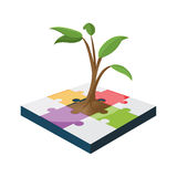 Tree Jigsaw Business Color Growth Vector Royalty Free Stock Photo