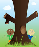 Tree and kids in nature Stock Photography