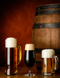 Tree kinds of beer royalty free stock image