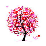 Tree of kisses with lips and smiles vector illustration