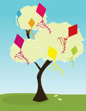 Tree with kites. Tree with brightly colored kites in its leaves vector illustration