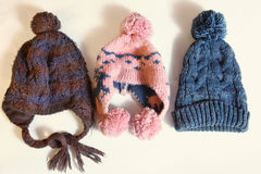 Tree knitted winter hats Royalty Free Stock Photos