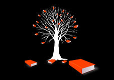 Tree with books. Silhouette of tree in white with books for leaves on black background stock illustration