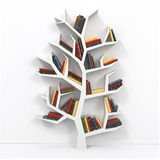 Tree of knowledge. Bookshelf on white background. 3d Stock Images