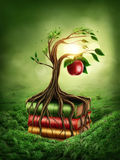 Tree of knowledge and forbidden fruit. Growing out of book Royalty Free Stock Images