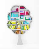 Tree of Knowledge, Wooden Shelf with Multicolor Books Isolated on White Background Stock Image