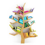 Tree of Knowledge, Wooden Shelf with Multicolor Books  on White Background Stock Photo