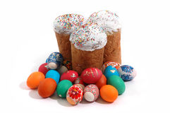 Tree Kulich and Easter Eggs Royalty Free Stock Image