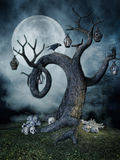 Tree with lamps and skulls Royalty Free Stock Photography