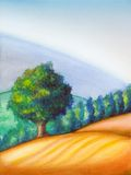Tree and landscape. Farmland in Tuscany, Italy. Hand painted illustration Stock Image