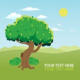 Tree and landscape cartoon stock photos