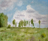 Tree Landscape Oil Painting. Oil painting with strokes of line of trees on a green hill with a blue sky and fluffy clouds Stock Images
