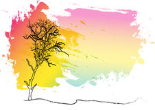 Tree,landscape tree watercolor background, abstract,Vector illustration Royalty Free Stock Photo